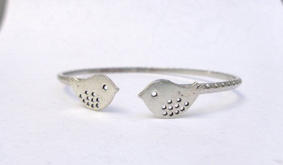 silver bird bracelet wrap style by stavroula on Etsy