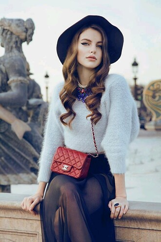 sweater fashion black hat chanel sheer maxi skirt fall outfits fuzzy sweater cropped sweater fall sweater floppy hat red bag chanel bag brunette classy