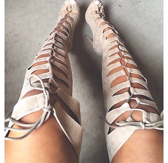 shoes laced up sandals nude high knee