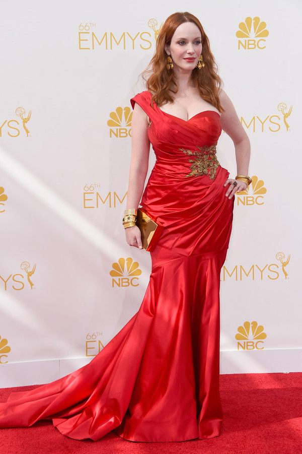 dress red dress christina hendricks emmys 2014 marchesa