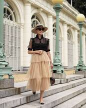 top,ruffle,mesh,midi skirt,straw hat,sunglasses,bag,flats