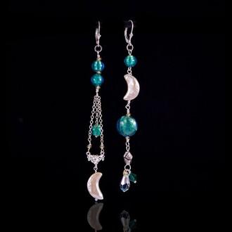 jewels long earrings sterling silver handmade earrings venetian venetian glass earrings statement earrings asymmetrical earrings silver earrings handmade jewellry