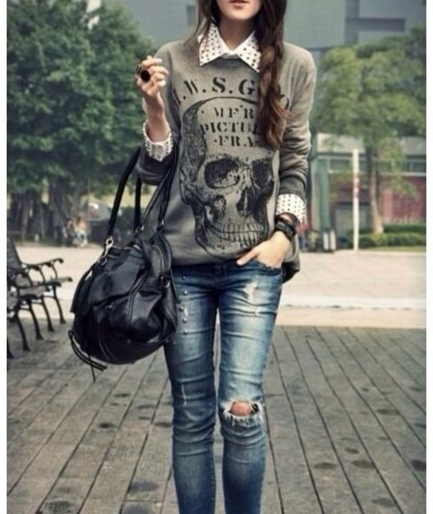 skull sweater studded collar blouse