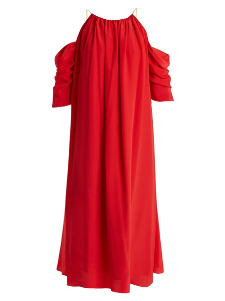ANNA OCTOBER dress midi dress open midi silk red