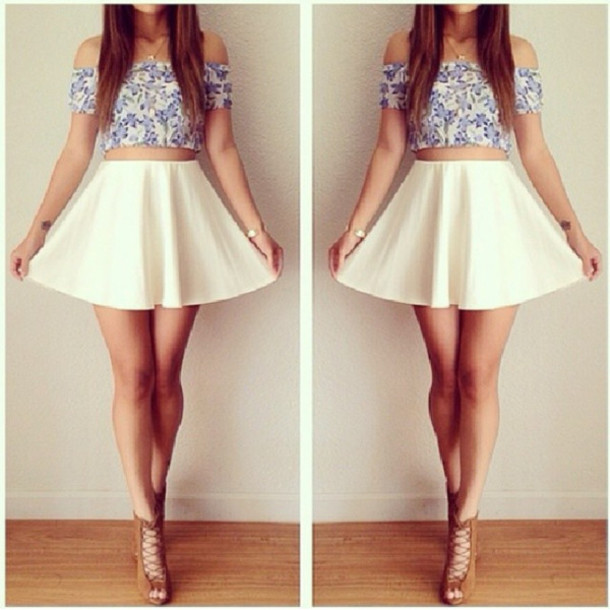 shirt skirt floral crop top white skater skirt jewels brown heels blouse  shoes t-shirt c979316a1