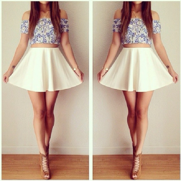 shirt skirt floral crop top white skater skirt jewels brown heels blouse shoes t-shirt top blue blue and white skater cute outfit dress jewelry nail accessories nail polish