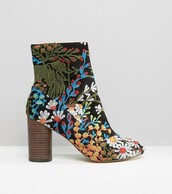shoes,boots,embroidered,floral,heel boots