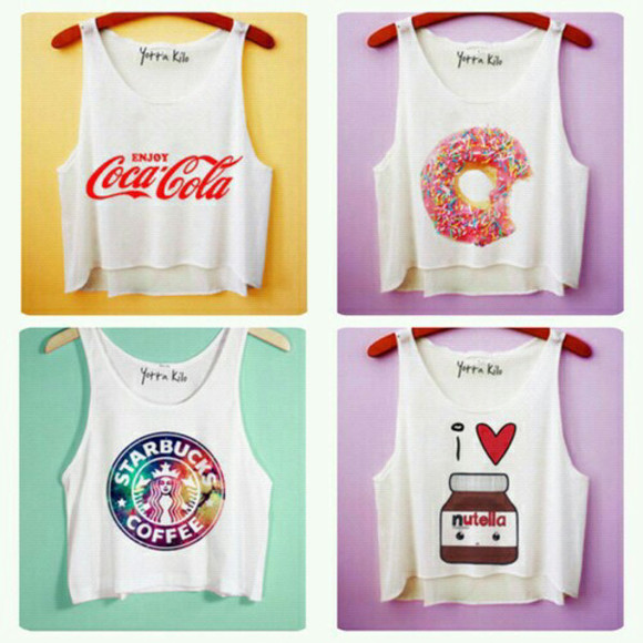 t-shirt donut tank top starbucks coffee starbucks nutella coca cola teenagers yotta kilo cute kawaii