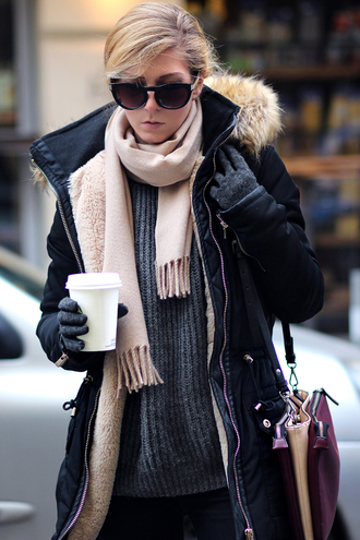 sirma markova blogger scarf gloves sunglasses grey sweater knitted gloves black sunglasses black coat coffee sweater