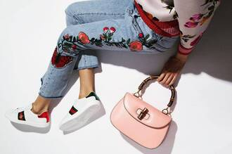shoes gucci ace sneakers gucci gucci shoes sneakers white sneakers low top sneakers bag handbag pink bag embroidered embroidered jacket embroidered denim denim jeans blue jeans