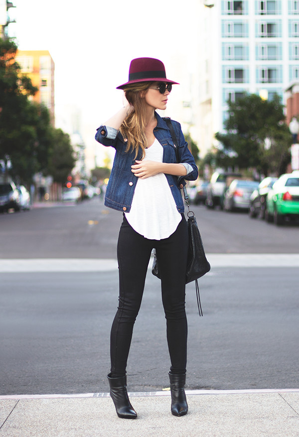 sunglasses jacket tank top bag shoes hat top blouse jeans boots outfit burgundy dark blue denim denim jacket black heels