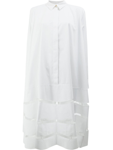 MAISON RABIH KAYROUZ dress shirt dress cut-out women white cotton