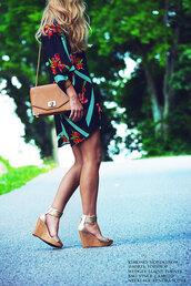 happily grey,shirt,shorts,shoes,bag,jewels,sunglasses,brown shoulder bag,chain strap bag,cork wedge,gold wedge sandals,kimono,floral kimono,shoulder bag,wedge sandals,blogger