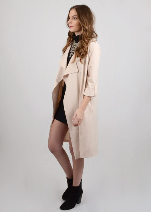 Nude light crepe trench coat