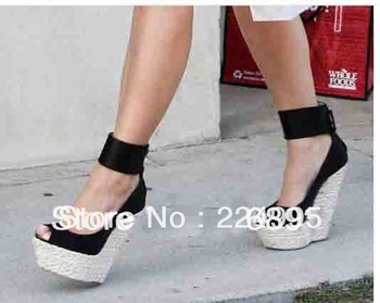 Genuine leather platform wedge sandals black ankle wrap high heel pumps design women dress shoe-in Pumps from Shoes on Aliexpress.com
