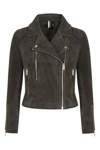 jacket biker jacket suede charcoal