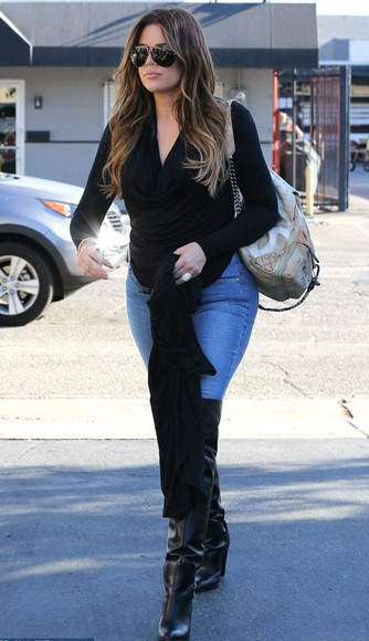 bag backpack khloe kardashian boots over knee high boots