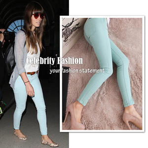 Trendy Bright Pastel Candy Coloured Crip Skinny Jeans Pant Trousers Plus Size  Free Shipping P07-in Pants & Capris from Apparel & Accessories on Aliexpress.com