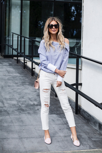 zorannah blogger top jeans shoes bag sunglasses blouse loafers ysl bag ripped jeans shirt tumblr blue shirt asymmetrical asymmetric shirt white jeans pink bag ysl ombre hair long hair