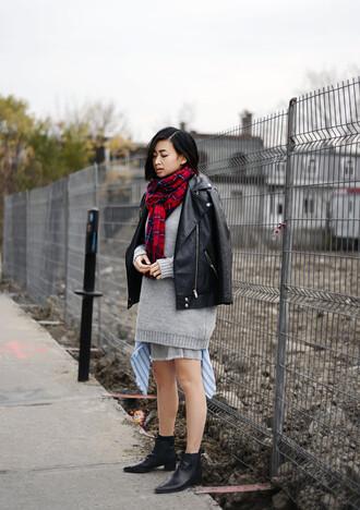 ordinary people blogger jacket scarf tartan grey sweater chelsea boots