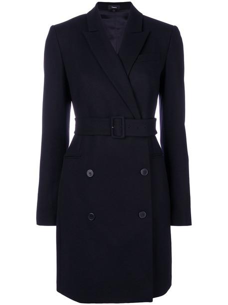 theory coat women spandex blue wool