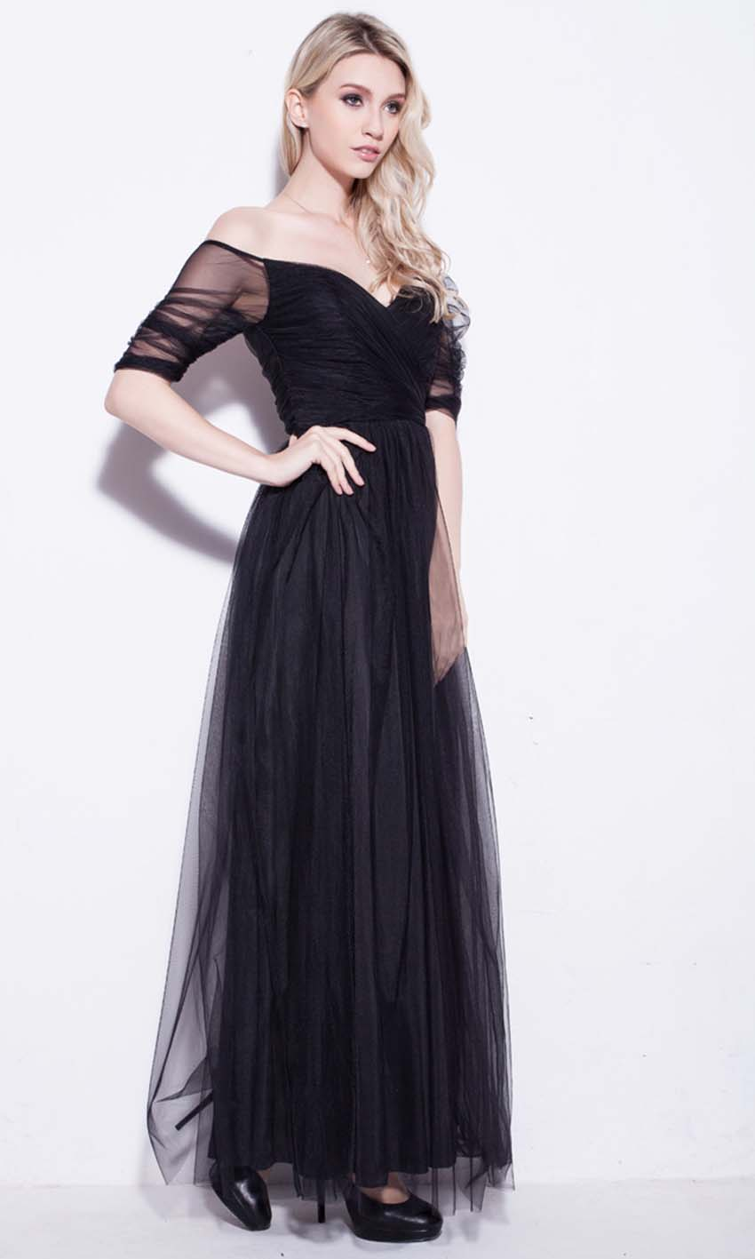 Black Net Off Shoulder Long Prom Dresses UK KSP250 [KSP250] - £92.00 ...