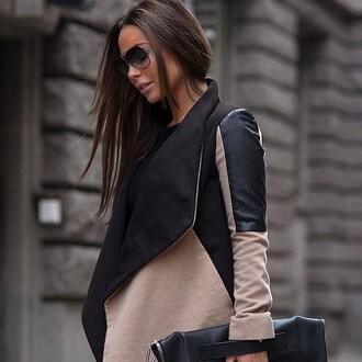 jacket coat black jacket beige jacket nude brown dress waterfall jacket scarf style fall outfits
