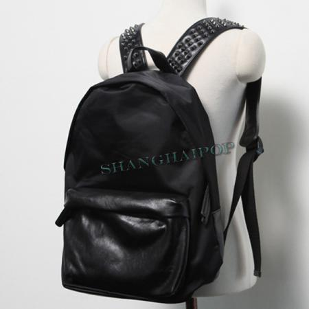 Stud Backpack Spike Rucksack Nylon Faux Leather School Bag Satchel ...