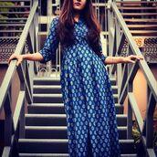 dress,dvibgyor,maxi dress,blue maxi dress,shirt dress,pleated,cotton