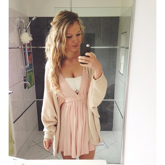 dress v-neck short cutout pink cream bandeau cardigan cute sweater
