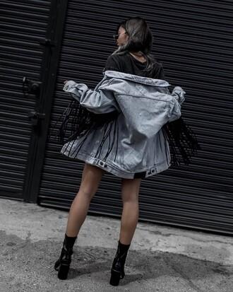 jacket tumblr denim jacket denim fringed jacket fringes boots black boots ankle boots