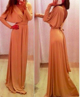 beige dress beige maxi dress full length long prom dress long dress long sleeve dress long sleeves beige maxi dress prom dress prom dress clubwear girl v neck dress v neck