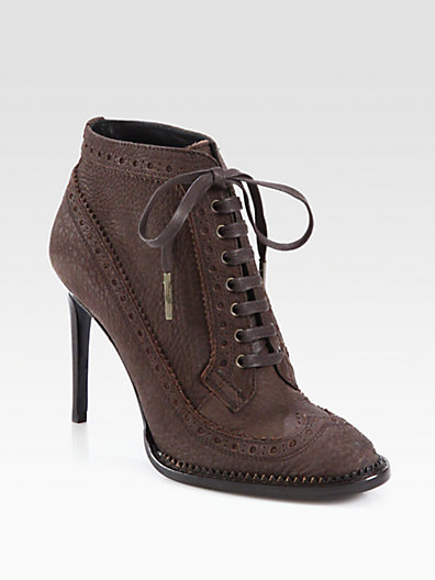 Burberry - Brogue Gairloch Leather Ankle Boots - Saks.com