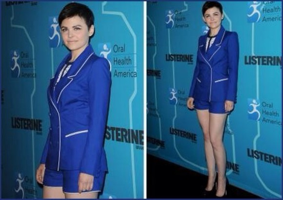 ginnifer goodwin blouse royal blue blue suit short suit, shorts