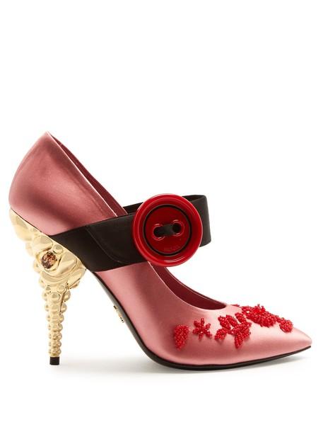 Prada embellished pumps satin pink shoes