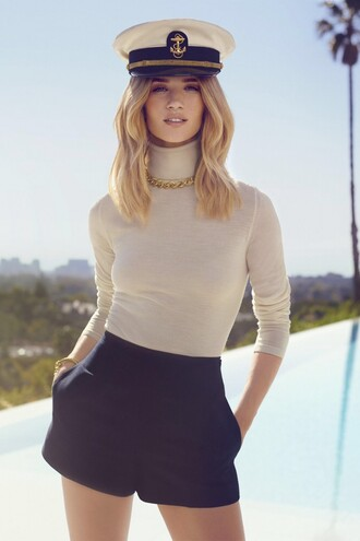 shorts rosie huntington-whiteley turtleneck necklace editorial