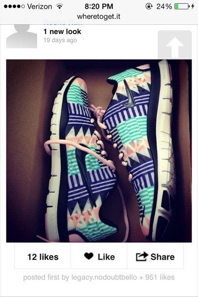 shoes nike nike roshe run baby blue tribal pattern panter like beautiful sneakers nike sneakers print nike sb aztec nikes pink blue