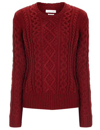 jumper knit wool burgundy red