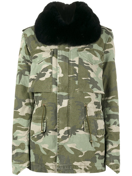 Mr & Mrs Italy parka fur fox women camouflage midi cotton silk wool green coat