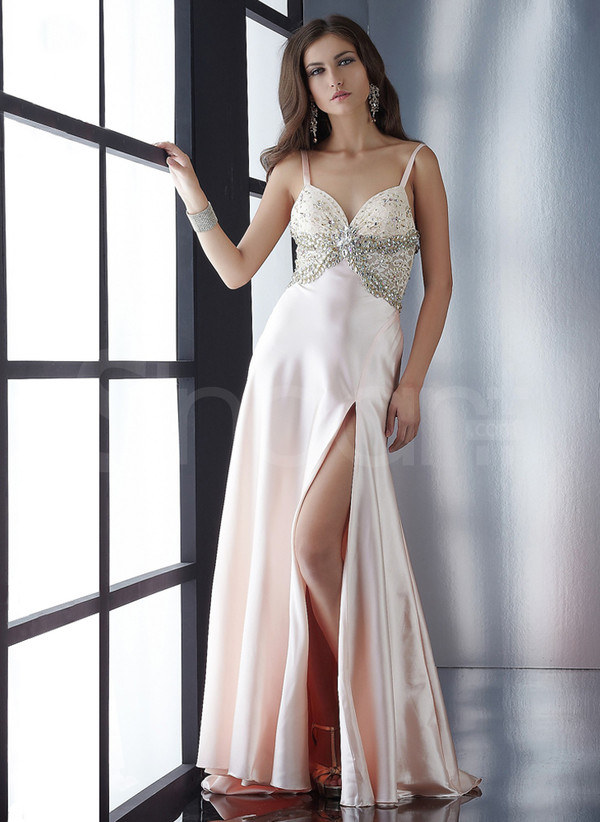 dress made of  elastic woven satin sleeveless prom dress with straps empire waistline and sweep train