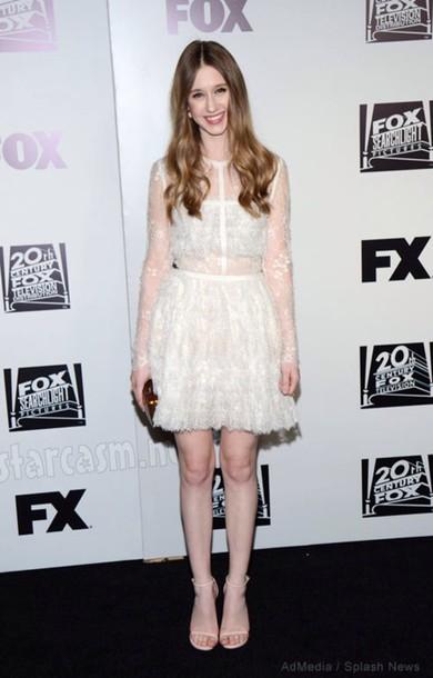 taissa farmiga formal american horror story white dress sandals lace dress dress