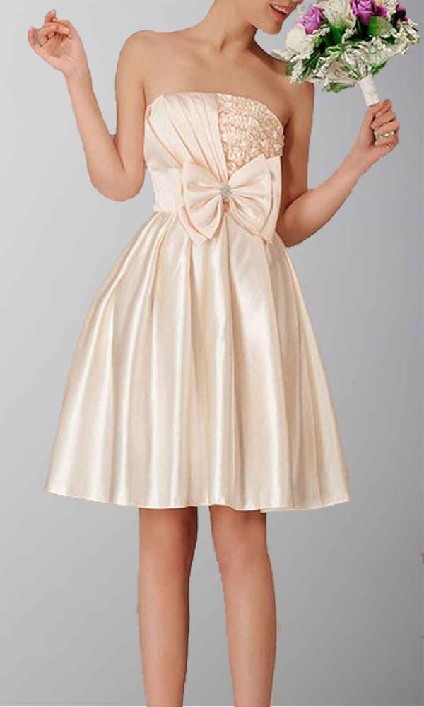 short party dresses short prom dress short homecoming dress graduation dresses short bridemaid dresses satin dress champagne prom dress bow knot dress