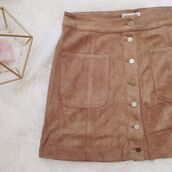 skirt,cotton candy la,suede skirt,tan suede skirt,tan skirt,button up skirt,bogatte