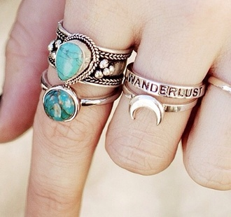 jewels ring necklace moon punk grunge hippie soft grunge