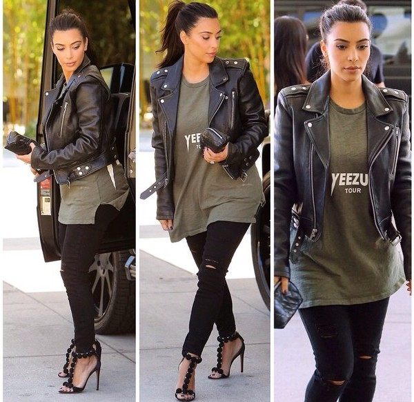 top kim kardashian yeezus black black leather jacket skinny jeans kimye t-shirt jacket shoes bag leather leather luxe