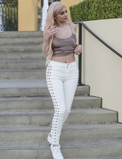 pants,top,sneakers,kylie jenner,kardashians,lace up,keeping up with the kardashians,celebrity,celebrity style,celebstyle for less,sexy,sexy outfit,fall outfits,spring outfits,cute,girly,date outfit,clubwear