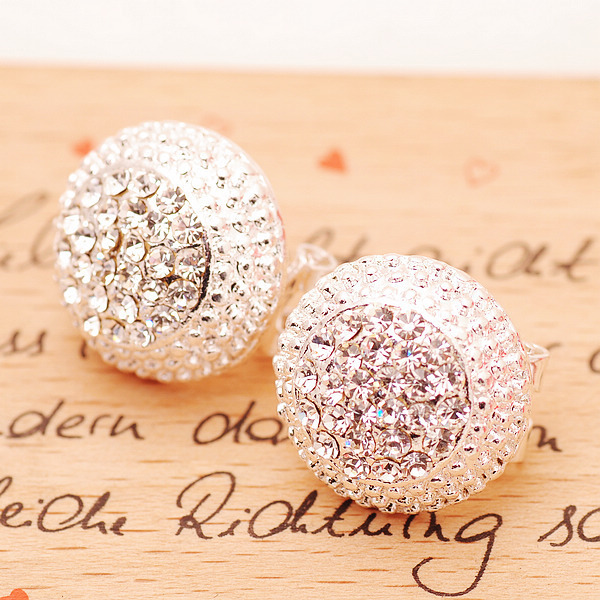 shopbazar shopping mall — [Grlhx130029 zxy]Shiny Rhinestone Cap Earrings