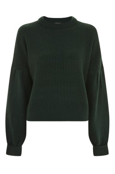 Topshop jumper pleated green sweater