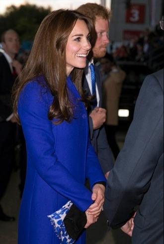 coat kate middleton blue bag jewels scarf