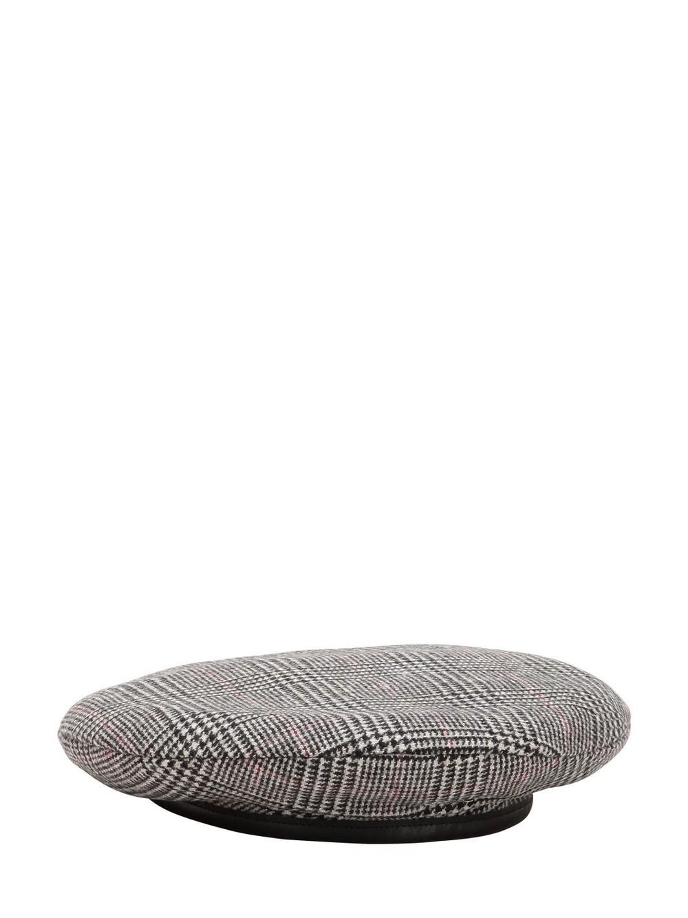 DON Plaid Merino Wool Beret in grey